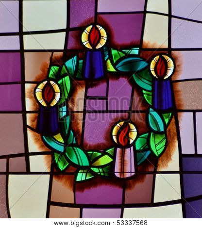 Stained Glass Window with Wreath