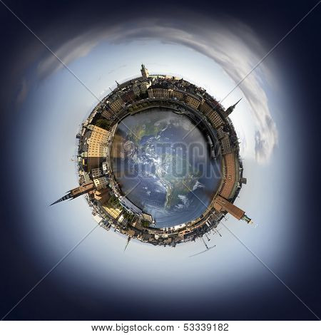 Stockholm old town skyline, 360 degree miniplanet (Elements of this image furnished by NASA)