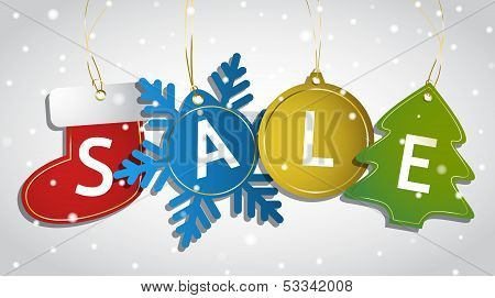 Christmas sale tags on a snowy background