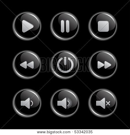 Media player glassy buttons collection