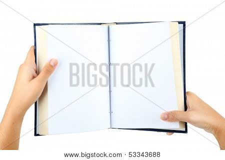 Book in hands isolated on white