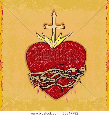 The Sacred Heart Of Jesus On Grunge Background