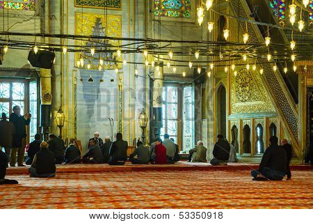 Blue Mosque Interior With The Muslims