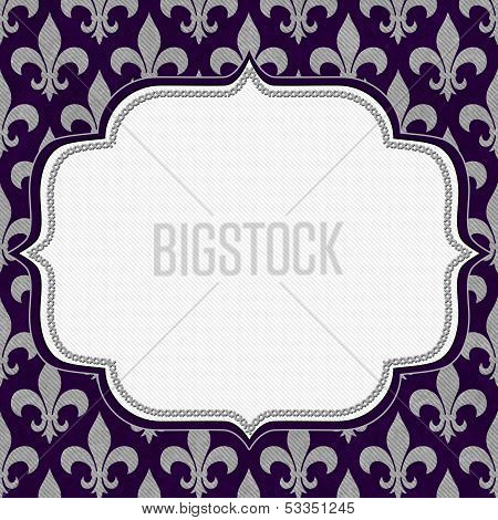 Purple And Gray Fleur De Lis Textured Fabric Background