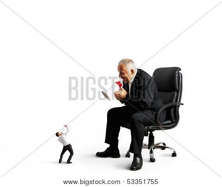 big boss screaming at small businessman. isolated on white background