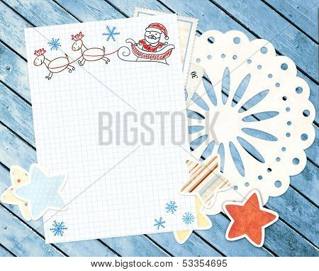 Letter to Santa Claus. Horizontal background