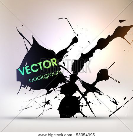 Abstract Texture Background, Black Paint Splatter, vector illustration
