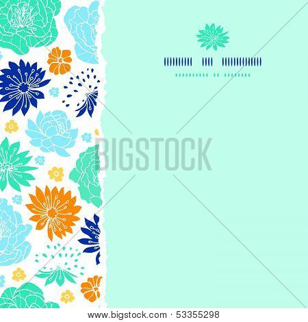 Blue and yellow flower silhouettes torn square seamless pattern background