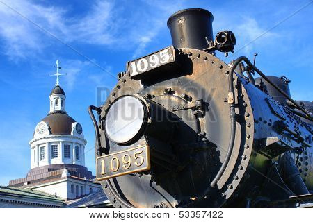 Canadian Pacific Railways Historic Locomotive In Kingston Ontario Canada With City Hall Dome In The