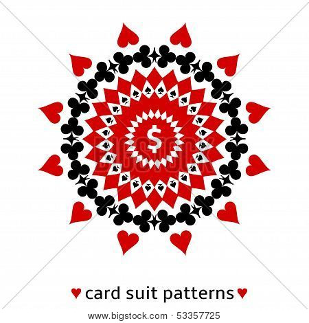 Card suit ornament with a dollar sign