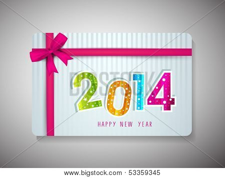 Beautiful Gift Cards for Happy New Year celebrations with colorful text on vintage blue background and pink ribbon.