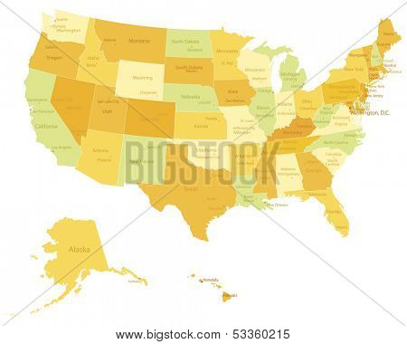 Highly detailed political USA map with names of states and cities