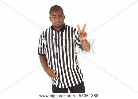 Black Referee Showing A Two Shot Foul Basketball