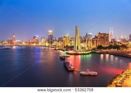 Shanghai Bund Panorama At Night