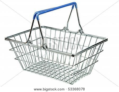 An empty metal shopping basket