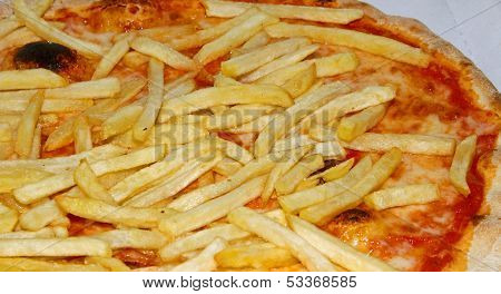 Neapolitan Pizza With French Fries And Mozzarella And Tomato