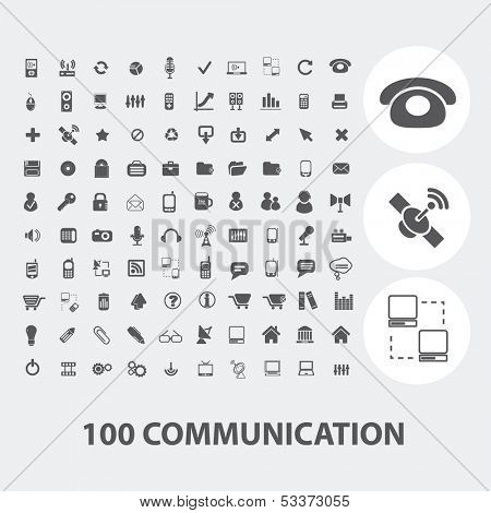100 communication black icons set, vector