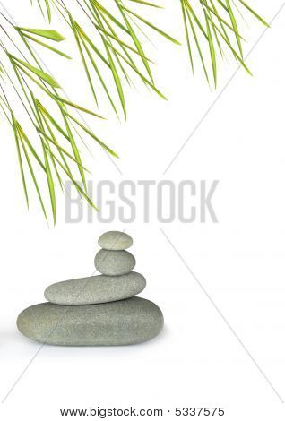 Stones And Bamboo Leaf Beauty