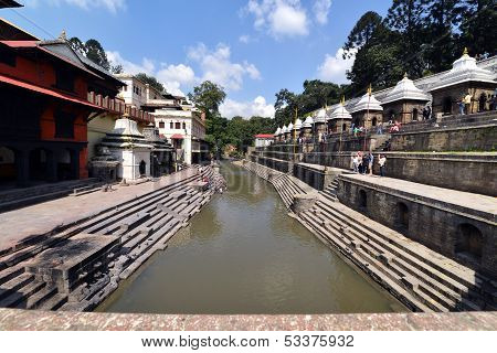 Cremation ghats and ceremony along the holy Bagmati River at Pashupatinath Temple