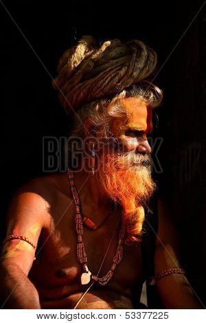 Sadhu Hindu man in Pashupatinath, Nepal