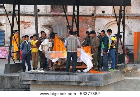 Cremation of a human body in Pashupatinath, Nepal