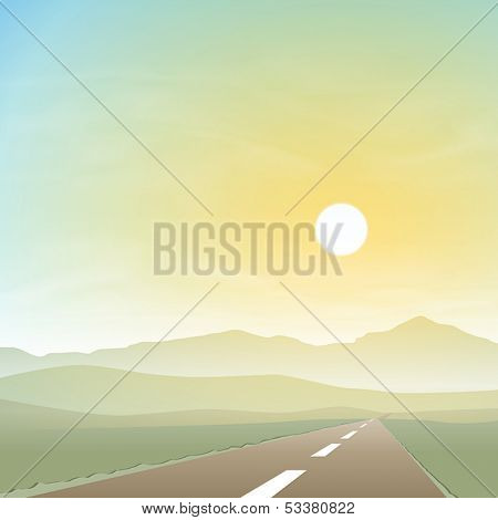 A Misty Landscape with Road, Highway and Sunset, Sunrise