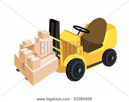 Forklift Truck Loading A Stack Of Shipping Box
