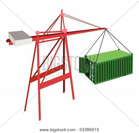 Green Container Being Hoisted By A Crane.