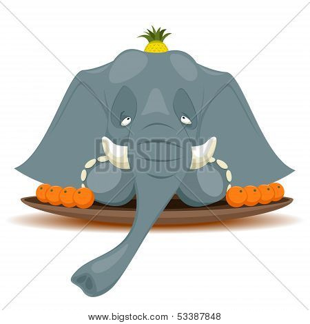Dish With Elephant For Terribly Hungry