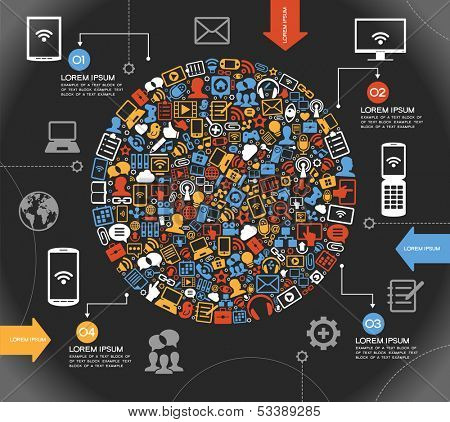 A modern set of infographics and icons Social Media. Abstract infographics design with paper numbered labels - vector illustration. This work - eps10 vector file, contains transparent elements