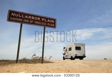 An Australian Camper Near Sign In Nullatbor Plain
