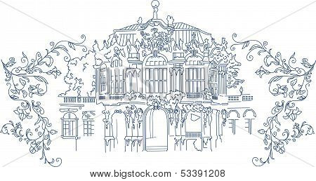 Rococo town silhouette with flowers