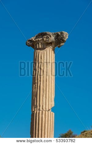 Single Stone Pillar At Ephesus In Turkey