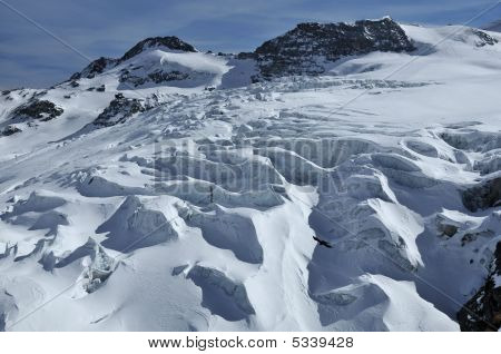 Crevasses On A Glacier