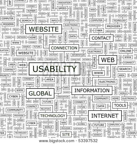 USABILITY. Seamless pattern. Word cloud illustration. Vector illustration.