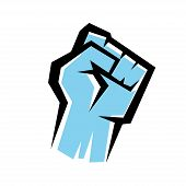stock photo of clenched fist  - fist stylized isolated vector icon revolution concept - JPG