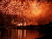 Fireworks show by the Wawel Castle over Vistula river, Krakow, Poland