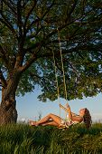 image of board-walk  - Beautiful girl on the swing in the forest - JPG