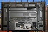 stock photo of rear-end  - Rear end of LCD television set with mount - JPG