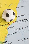 Football On Map Of Brazil To Show 2014 Rio Fifa World Cup Tournament