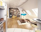 stock photo of penthouse  - modern penthouse interior design - JPG