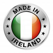 stock photo of irish flag  - Made in Ireland silver badge and icon with central glossy Irish flag symbol and stars - JPG