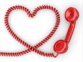 stock photo of cord  - Phone reciever and cord as heart - JPG