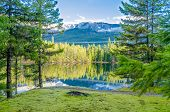 foto of olympic mountains  - Majestic mountain lake in Canada - JPG