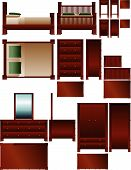 stock photo of armoire  - Set of vector bedroom furniture in multiple views - JPG