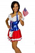 foto of national costume  - African American female wearing a stars and stripes patriotic costume - JPG