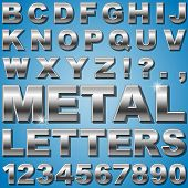 foto of alloy  - An Alphabet Sit of Shiny Metal Letters and Numbers - JPG