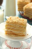 picture of cream puff  - Piece of Napoleon cake layer cake from puff pastry with custard cream