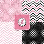 stock photo of chevron  - little polka dots and chevron black white pink gray geometric crackle backgrounds set with vintage frames - JPG