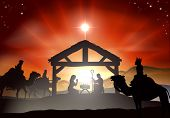 stock photo of manger  - Nativity Christmas scene with baby Jesus in the manger in silhouette three wise men or kings and star of Bethlehem - JPG
